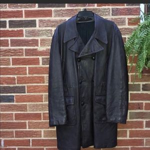 Other - 🏹 Vintage Men's Leather Trench Coat Size Large